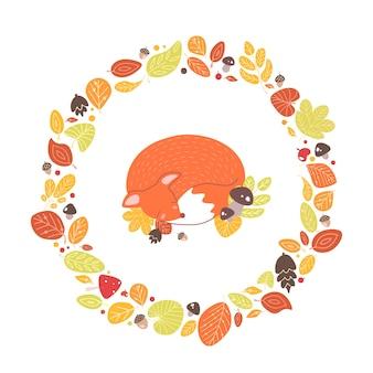 Fuchs schläft in einem kreisförmigen rahmen oder kranz aus gefallenen blättern, eicheln, zapfen. dekorative komposition mit waldtier, umgeben von getrocknetem laub. saisonale flache cartoon-vektor-illustration.