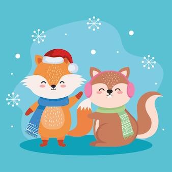 Fuchs- und eichhörnchenkarikaturen im entwurf der frohen weihnachtszeit, winter- und dekorationsthema