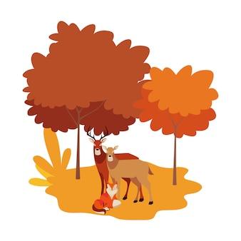 Fuchs und hirsche säugetiere in einer natürlichen landschaft