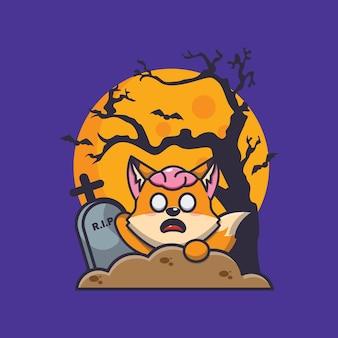 Fuchs-zombie-aufstieg des friedhofs süße halloween-cartoon-illustration