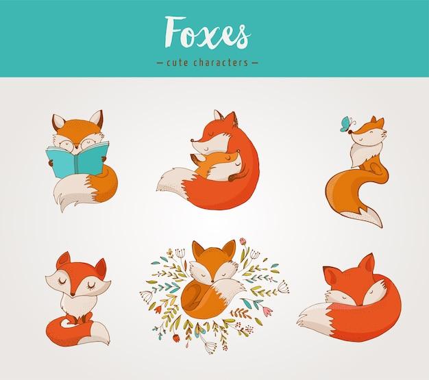Fuchsfiguren, süße, schöne illustrationen