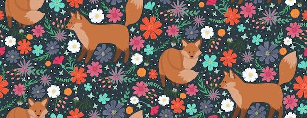 Füchse umgeben von schönen blumen. elegantes vektornahtloses muster
