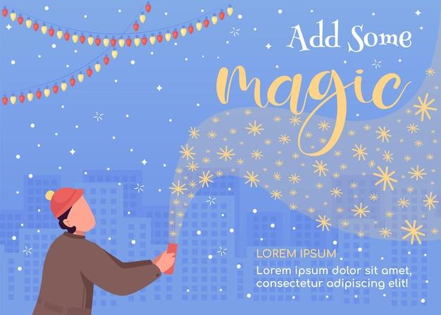 Fügen sie eine magische flache vorlage hinzu. fröhliche weihnachten. festliche begrüßung. saisonale winterferienfeier
