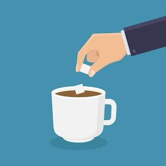 Fügen sie zucker kaffee flach hinzu