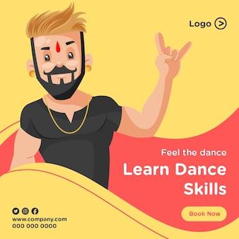 Fühle den tanz und lerne tanzfähigkeiten banner design