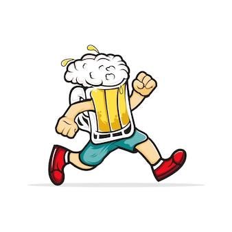 Führen sie ein bier-cartoon-maskottchen für jedes getränkegeschäft