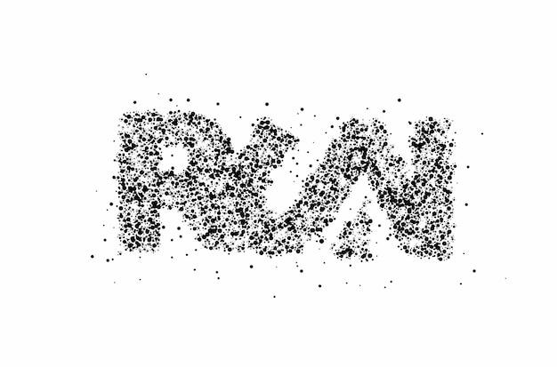 Führen sie partikel kalligraphisches textvektor-illustrationsdesign aus.