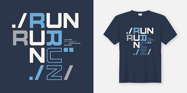 Führen sie wildes t-shirt und kleidungsdesign aus. druck, typografie, poster. globale farbfelder.