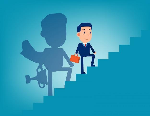 Führer und treppe zum erfolg