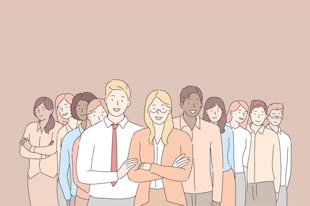 Führung, coworking, geschäftskonzept