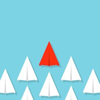 Führung, papierflugzeug der teamwork-menge, flugzeug.