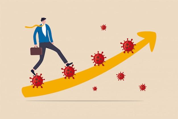 Führung, um das problem in der coronavirus-covid-19-krise zu lösen, zu fuß zu gehen und in der wirtschaftskrise beim covid-19-ausbruch zu überleben, vertrauen geschäftsmann führer gehen coronavirus-treppe mit grafikpfeil hinauf.