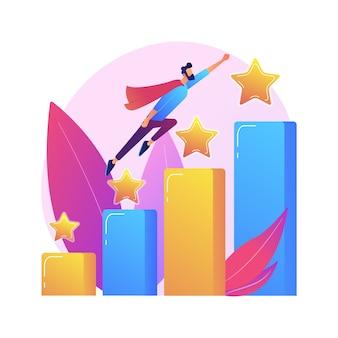 Führung und berufsförderung. erfolgreiches projekt, start des startups, entwicklung. teamleiter, ceo flacher charakter. karikaturfrau, die auf rakete sitzt.