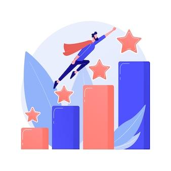 Führung und berufsförderung. erfolgreiches projekt, start des startups, entwicklung. teamleiter, ceo flacher charakter. karikaturfrau, die auf raketenkonzeptillustration sitzt