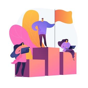 Führung und erfolg. bester arbeiter auf sockel. leistung, entwicklung, motivation. mitarbeitercharakter, der auf balkendiagramm mit flagge steht.