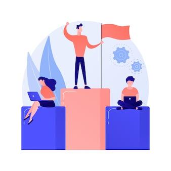 Führung und erfolg. bester arbeiter auf sockel. leistung, entwicklung, motivation. mitarbeitercharakter, der auf balkendiagramm mit flaggenkonzeptillustration steht