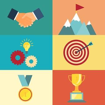 Führung und erfolgsillustration für präsentationen und websites im modernen stil