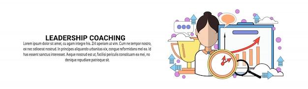 Führungs-coaching-geschäfts-trainings-konzept-horizontale fahnenschablone