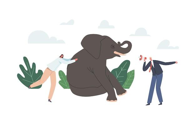 Führungs-, karriere- oder corporate challenge-konzept. leistungsstarke geschäftsfrau, die riesigen elefanten drängt, geschäftsmann charakter mit megaphon, straßenerfolg in der karriere. cartoon-menschen-vektor-illustration