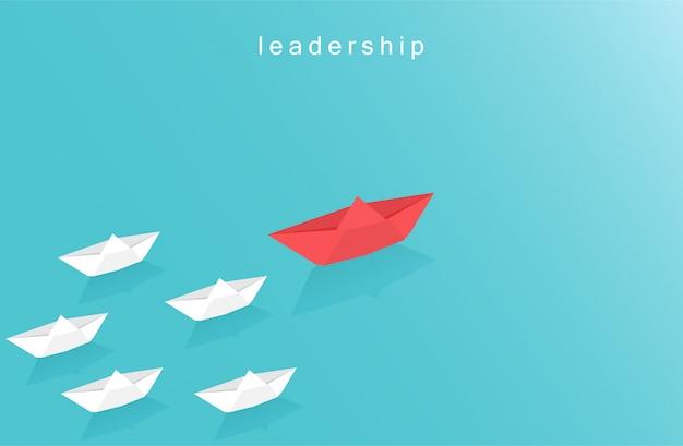 Führungsdesignkonzept im geschäft mit papierbootsymbol. origami-boot, das im blauen ozean segelt. visionäres führungsteam. papierkunstart-vektorillustration