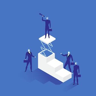 Führungsillustration in der flachen art