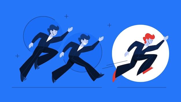 Führungskonzept. idee der teamarbeit und anleitung. fachmann