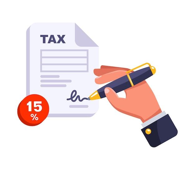 Füllen sie das steuerformular jährlich aus. einkommenssteuer. flache vektorillustration.