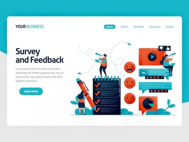 Füllen sie die umfrage aus, um feedback zu erhalten. nutzerbewertungen auf der service-landing-page