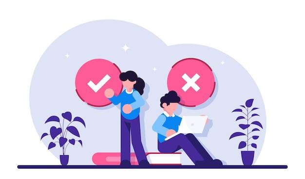 Fülltest. kundenerfahrungen und zufriedenheit. frau und mann setzen häkchen. test im kundenumfrageformular ausfüllen.