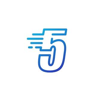 Fünf 5 nummernstrich schnelle schnelle digitale markierungslinie umriss logo vektor icon illustration