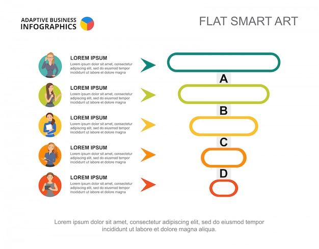 Fünf arbeiter verarbeiten diagrammvorlage für präsentation