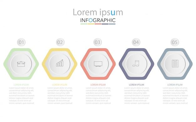 Fünf bunte rechteckige elemente, dünne piktogramme, zeiger und textfelder