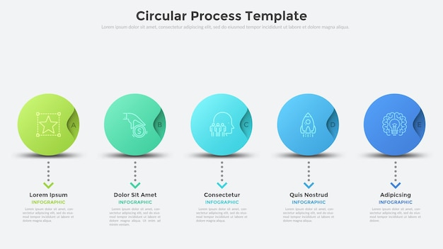 Fünf bunte runde elemente, die in horizontaler reihe angeordnet sind. modernes infografik-design-layout. konzept von 5 aufeinander folgenden schritten der strategischen entwicklung. vektorillustration für fortschrittsbalken, prozessdiagramm.