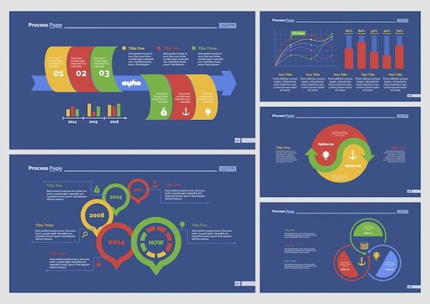 Fünf business slide vorlagen set