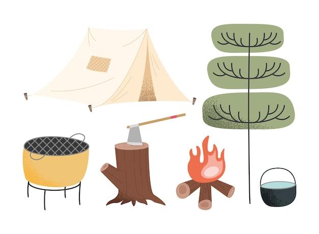 Fünf camping-abenteuer-set-icons