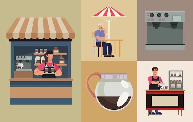 Fünf coffeeshop-symbole