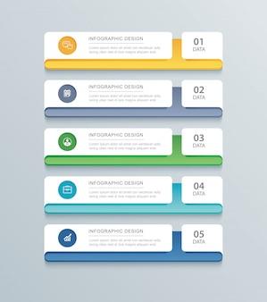 Fünf daten infografiken registerkarte papier indexvorlage.