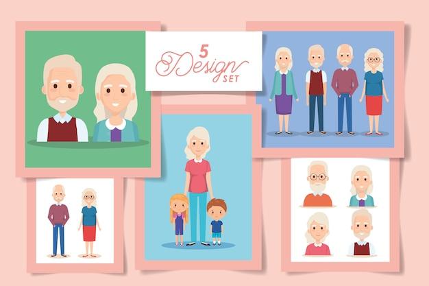 Fünf entwürfe von großeltern mit enkelkindern