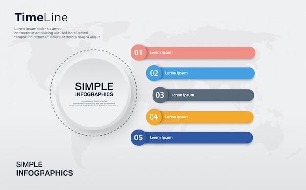 Fünf farbenfrohe grafische info-charts mit runder form und einem großen weißen kreis.