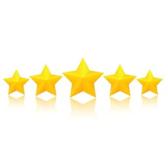 Fünf fette goldene sterne mit reflexion. ausgezeichnete qualitätsbewertung