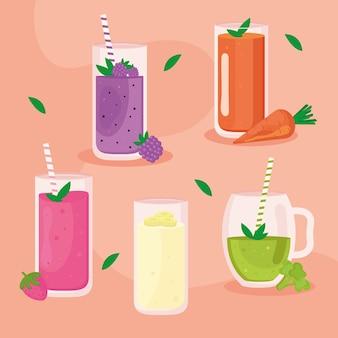 Fünf frische smoothies setzen symbole