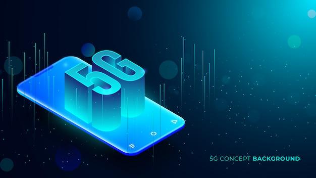 Fünf g technologiehintergrund mit dem blauen glühen punktiert den text 3d, der aus telefon herauskommt