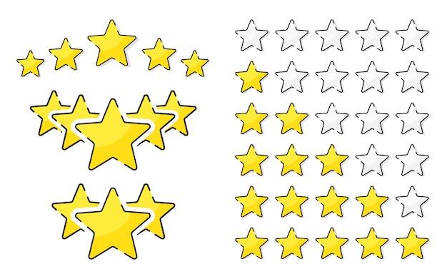 Fünf goldene bewertung sternvektorillustration