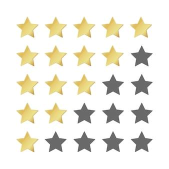 Fünf goldene sterne bewertung. realistisches führungssymbol des 5-sterne-bildes. hochglanzgelb siegerwertung. vektorillustration