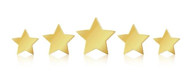 Fünf goldene sterne. realistisches führungssymbol mit 5 sternen. siegerwertung des glänzend gelben metallic-gewinners. vektorillustration