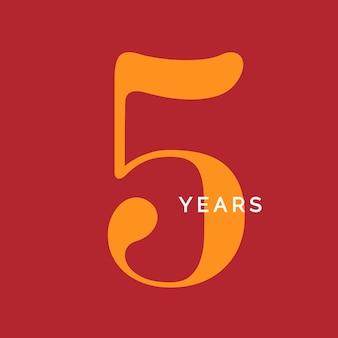 Fünf jahre symbol fünfter geburtstag emblem jubiläum zeichen nummer logo konzept vintage poster vorlage