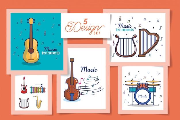 Fünf karten mit instrumenten musikikonen