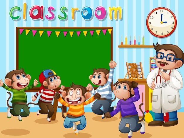 Fünf kleine affen springen mit einem arzt ins klassenzimmer