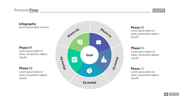 Fünf kreis sektoren folienvorlage