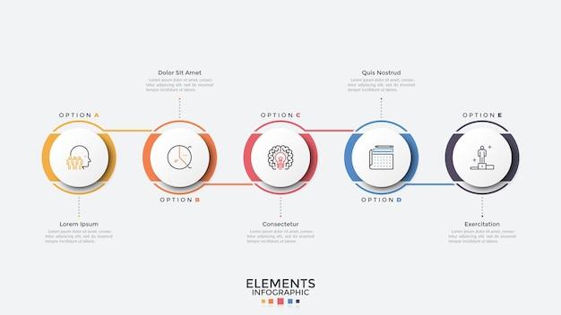 Fünf kreisförmige elemente in horizontaler reihe angeordnet und verbunden. moderne infografik-design-vorlage. konzept von 5 phasen des geschäftsprozesses. vektorillustration für präsentation, bericht, banner.